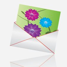 Floral Concept Whit Envelope Stock Photo