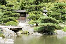 Free Japanese Garden With A Traditional Gate Royalty Free Stock Photography - 26345297
