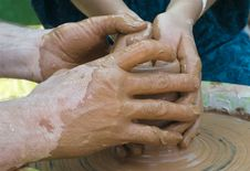 Free Hands Of A Potter Royalty Free Stock Photo - 26346165