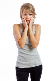Beautiful Blonde Girl With The Emotion Of Surprise Royalty Free Stock Photos