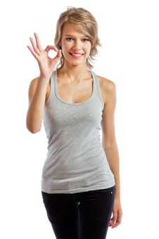Happy Young Woman Doing The Ok Sign Royalty Free Stock Image