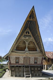 Traditional Batak House On The Samosir Island, Indonesia, Royalty Free Stock Images