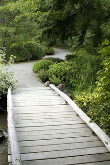 Wooden Bridge In Japanese Garden Royalty Free Stock Photo