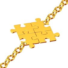 Free Gold Chains With The Collected Puzzles Stock Photos - 26349973
