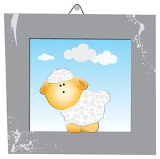 Free The White Sheep In The Gray Frame Royalty Free Stock Photography - 26357557
