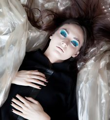 Free Stylish Girl Dreaming - Blue Make-up Stock Images - 26357654