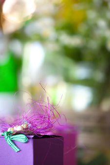Purple Gift Box Close-up Royalty Free Stock Photo