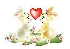 Free A Couple Of Pretty Cartoon Rabbits Royalty Free Stock Photos - 26368948