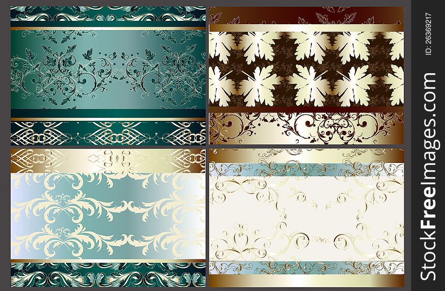Floral vector background set with seamless element