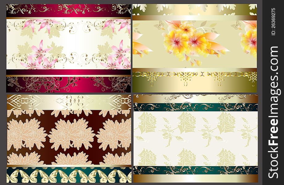 Floral wallpaper set with seamless elements