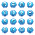 Free Electronics Icons On Blue Buttons. Royalty Free Stock Photo - 26378365
