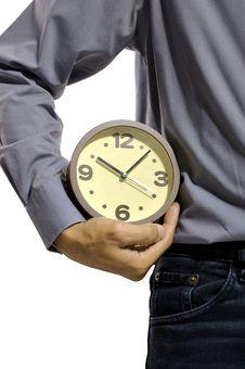 Free Holding Clock Royalty Free Stock Photo - 26370615