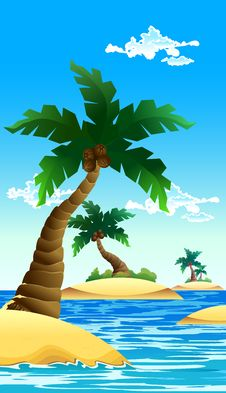 Free Small Coconut Island Royalty Free Stock Image - 26374766
