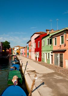 Free Colorful Street In Burano Stock Photography - 26378352