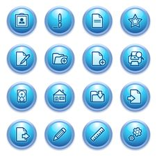 Free Document Icons On Blue Buttons, Set 2. Stock Image - 26378461