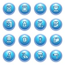 Free Home Appliances Icons On Blue Buttons, Set 2. Stock Images - 26378474