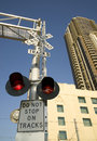Free Railroad Crossing Warning Lights Downtown Royalty Free Stock Image - 26383516