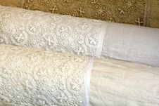 Free Linen Pillow Cases With Cotton Crochet Lace Stock Images - 26383604