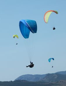 Paragliding In The Blue Sky Stock Photography