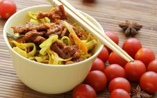 Free Chinese Noodles And Beef Stock Image - 2640041