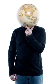 Free Young Man Holding A Globe Royalty Free Stock Image - 2641166