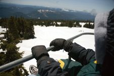 Boy On Ski Lift At MT. Hood Royalty Free Stock Image