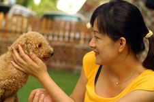 Free Asian Lady And Poodle Royalty Free Stock Photo - 2643575
