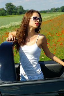 Free Summer Girl In Car Stock Image - 2644221