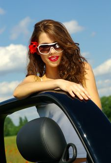 Free Summer Girl Over Blue Sky Royalty Free Stock Photography - 2644267
