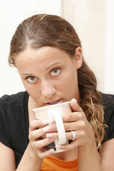 Free Girl Drinking Coffee Royalty Free Stock Photography - 2647257