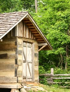 Rustic Log Building Stock Image