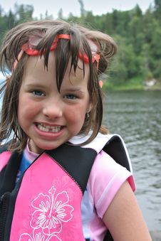 Free Girl Wearing Goggles At Lake Stock Image - 2648921