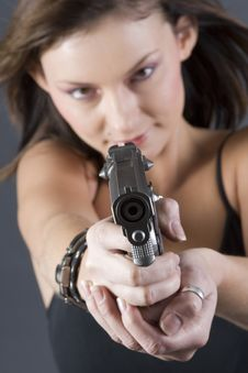 Free Handgun Girl Royalty Free Stock Photography - 2649917