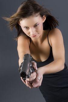 Free Handgun Girl Stock Photography - 2649922