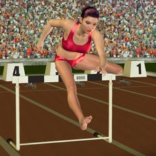 Free Woman In Hurdling Stock Photos - 26402333