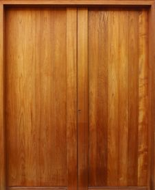 Free Teak Wooden Door With Natural Color Stock Images - 26402914