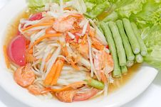 Free Green Papaya Salad Thai Cuisine Spicy Delicious Royalty Free Stock Image - 26406576
