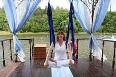 Female Aerial Yoga Relaxing Stock Photos