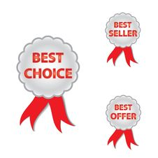 Free Best Choice, Offer And Seller Labels With Ribbon. Royalty Free Stock Photos - 26408078