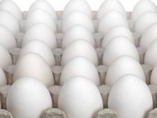 Eggs Of A Hen In Packing On A White Background. Stock Photos