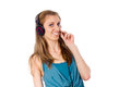 Free The Girl In The Headphones Listening To The Music Stock Photography - 26414532