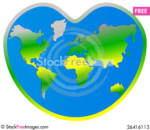 World Map Planet Earth In Heart  Free Stock Photos  Images