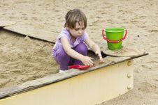 Free Cute Girl At Sandbox Stock Photography - 26411302