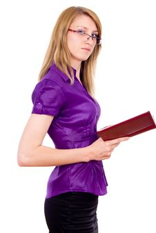 Free The Girl Keeps A Book And Indicates Stock Photography - 26412482