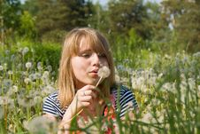 Free Beautiful Girl Blow On The Dandelion Stock Photos - 26413713