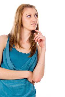 Free Beautiful Girl Thinks Royalty Free Stock Photos - 26414588