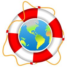 Free Life Buoy With Earth Planet Isolated Vector Royalty Free Stock Photo - 26415995