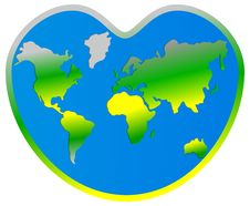 Free World Map Planet Earth In Heart Stock Photos - 26416113