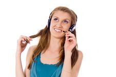 Free Beautiful Girl Listening To The Music Royalty Free Stock Image - 26416856