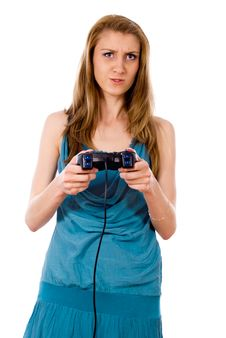 Free Beautiful Girl Plays On The Joystick Stock Photos - 26416863